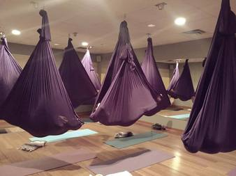aerial yoga is a relatively new approach to a traditional yoga practice  it uses a silk fabric hammock sometimes called a yoga swing to support the weight     fitness studio in savage mn   yoga 4 you  rh   doyoga4you
